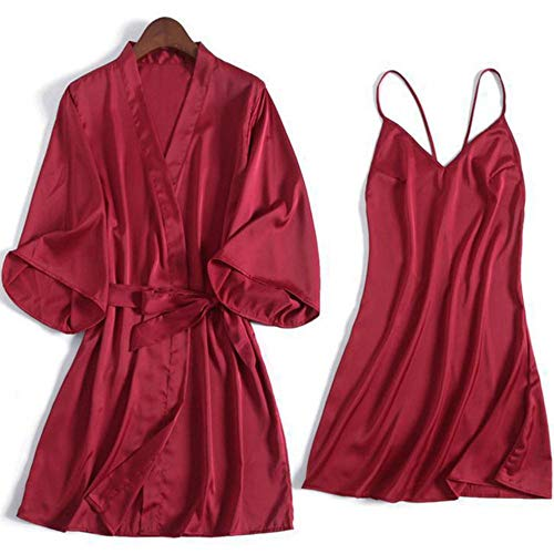 JLWS Mujeres Sexy Kimono Albornoz Blanco Novia Dama de Honor Conjunto de Bata de Boda Adorno de Encaje Ropa de Dormir Ropa de casa Informal Ropa de Dormir, Conjunto de Bata Burdeos 14, XL