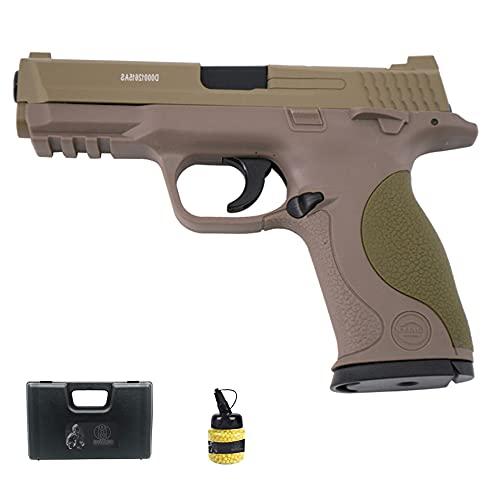 Pistola Galaxy G51 Desert (Muelle) | Pistola de Airsoft (Bolas de plástico 6mm) Tipo Smith & Wesson MP40 + maletín de PVC + biberón de munición