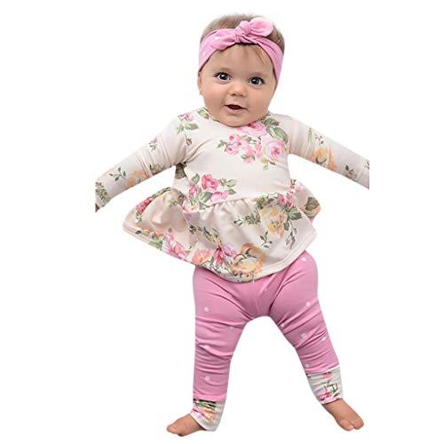 MRULIC 3Stück Baby Mädchen Langarm Tops Hosen Outfits Taufbekleidung Bekleidungssets Stücke Schal Neugeborene Winter Plaid Pullover Mit Oberteile Tops+ Set(Rosa,Höhe:75-80cm)