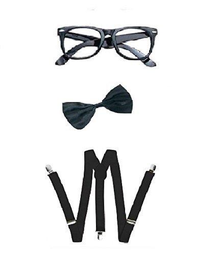 Déguisement accessoires de geek avec une paire de lunettes noires + un nœud papillon noir + Une paire de bretelles noires. Ideal pour les enterrements de vie de garçon ou de jeune fille.