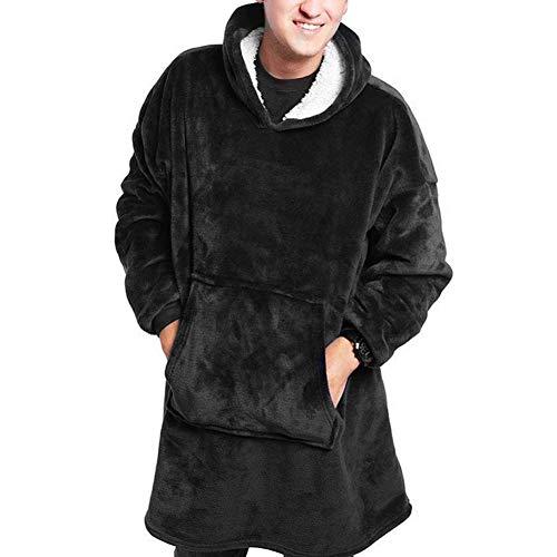 Sudadera con capucha para hombre y mujer, suave, cálida, muy suave y cómoda, adecuada para adultos, hombres, mujeres, adolescentes negro Talla única