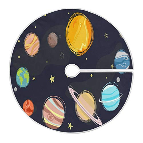 ALARGE Falda para árbol de Navidad, diseño de planetas de galaxia, sistema...