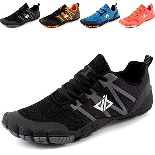 JACKSHIBO Zapatos descalzos para hombre y mujer, transpirables, para correr, fitness, suaves, ligeros, antideslizantes, para trekking o trail, Negro , 42 EU