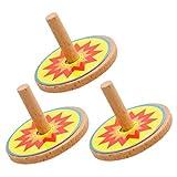 Tomaibaby 3 Piezas de Madera Trompos de Madera Novedad Colorida Giroscopios de Madera Favores de Fiesta de Juguete para Niños Niños DIY Craft