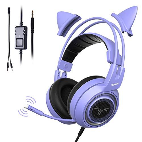 Somic G951S Lila Gaming-Headset mit Mikrofon für PS4, Xbox One, PC, Handy, Surround-Sound, abnehmbare Katzen-Ohr-Kopfhörer, leicht, selbsteinstellend, 3,5 mm Buchse