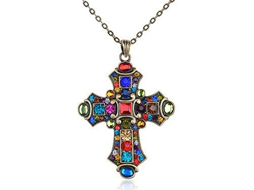 ALILANG Damen Aufwändige Antike Vintage Gold Bunt Strass Kreuz Anhänger Halskette