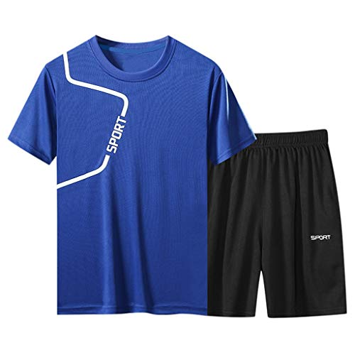 Sportanzug Herren Sporthose T-Shirts Set Trainingsanzug Sommer Kurze Hose Trainingshose Schnelltrocknende Atmungsaktiv Sport Anzug, Teenager Männer Fitness Gym Jogging Shorts Top Zweiteiler