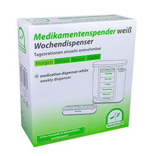 Medi-Inn Wochendispenser Tablettenbox 7 Tage weiß | H x B x T: 13 x 11,5 x 4,5 cm