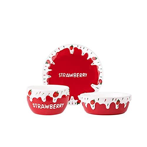 Combinación de vajillas Conjunto de cubiertos de 3 piezas de diseño de fresa, conjunto de cubiertos de diseño de dos colores, postre de ensalada de fideos, lavavajillas seguro, adecuado para uso en in