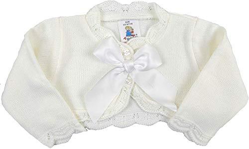 The Pyjama Party Baby Matinee Jacke Cardigan Bolero Strickkleidung Creme oder Pink Unisex Jungen Mädchen Gr. 74, Cremefarbener Bolero