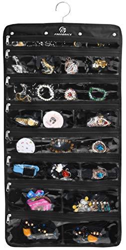 Freegrace Premium Hanging Jewelry Organizer Revolving Hanger - Secure Zipper Closure - 50 Pockets/Two-Side Pockets - Foldable Storage & Display Solution Jewelry & Bijoux - Black