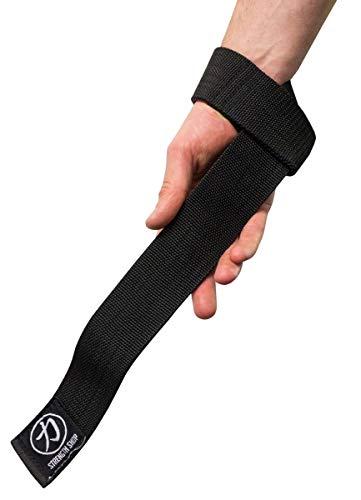 Strength Shop - Corda per trazioni in tessuto spesso, colore: nero, larghezza 5 cm