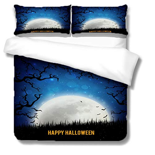 Bedding Halloween night Trendy 3D Striped Pattern 3 pieces Quilt with Zipper Duvet Cover Set King Set including Pillowcases Closure Easy Care Washable-220x240cm