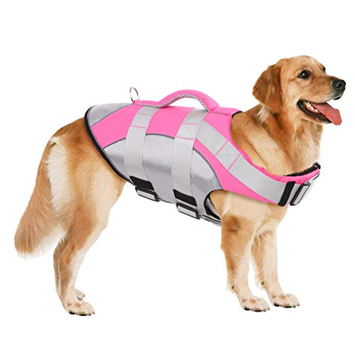 SUNFURA Pet Life Jackets, Summer Dog Float Coat with Reflective Strips and Rescue Handle, Adjustable...