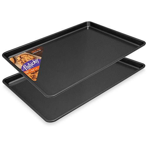 Nonstick Cookie Sheet Baking Pan - 2PC Large Metal Oven Baking Tray Mega Pan Kitchen Cooking Non-Stick Bake Trays - Stylish Metallic Black Coating PFOA PFOS PTFE Free - NutriChef NCLGBP16