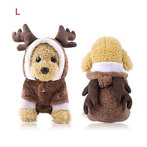 Sahgsa Ropa de Navidad para Perros Ropa de Abrigo de Invierno con astas Disfraz de Navidad Regalo para Perro Gato Traje de Abrigo Traje de Mascota