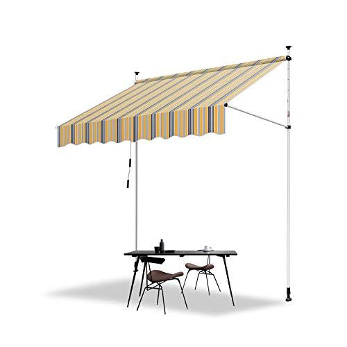 Hengda 150 x 120 cm Markise Einziehbar Klemmmarkise Balkonmarkise Sonnenschutz ohne Bohren Höhenverstellbar