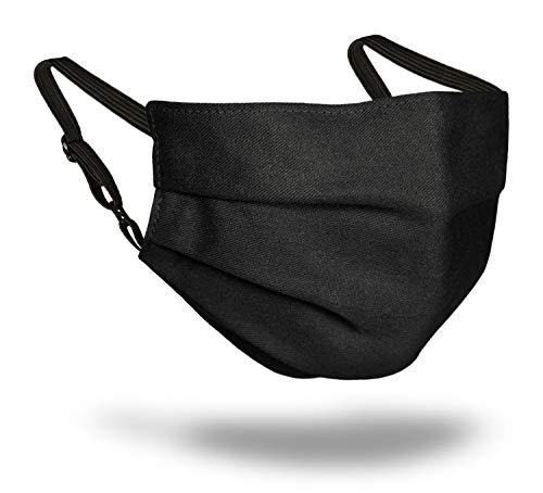 Leschi GESICHTSMASKE mit Nasenbügel/waschbare Behelfsmaske für Damen und Herren aus Baumwolle/Stoff-Maske atmungsaktiv, umschließt Nase, Mund, Kinn/Mund-Nasen-Maske, Farbe schwarz, Größe S bis M