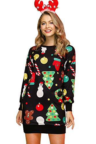 BesserBay Damen Weihnachtskleid Langarm Tunika Festliches Longpullover