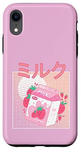 iPhone XR Funny Retro 90s Japanese Kawaii Strawberry Milk Shake Carton Case
