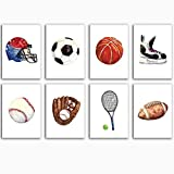 VVSUN Moderne Ballon Sport Basketball Rugby Football Skate Mur Art Toile Peinture Nordique Affiche Et Imprimer Mur Photo Enfants Chambre Décor,30x40cmx8Pcs (sans Cadre)