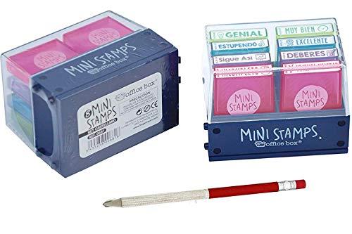 Pack 8 Sellos Profesor Mini Stamps Motivación CASTELLANO. Hasta 10.000 impresiones por mensaje + REGALO