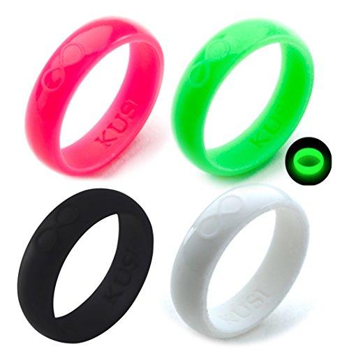 KUSI Silicone Wedding Ring Set for Women, Size 9, Black, Green Glow in The Dark,...