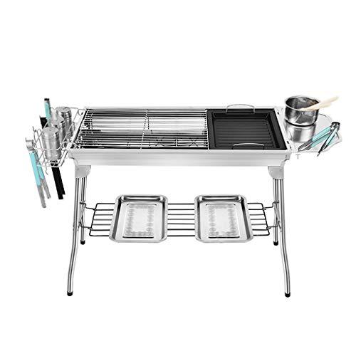 SSG Home Conception Portable Barbecue Accueil Cuisine Pique-Nique de Haute qualité épais en Acier Inoxydable Barbecue au Charbon avec Sauvage Pique-Nique Pliante étagère Stable et Durable