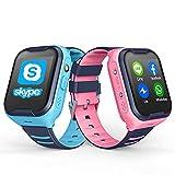 TTSLVS Reloj Inteligente para niños Reloj GPS Pulsera GPS, Reloj Inteligente para niños con r Llamada de Emergencia, para Regalo de cumpleaños Niños Niñas,Rosado