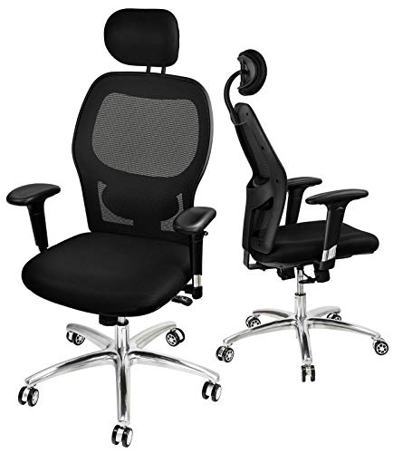 Mesh Office Chair High Back Desk Chair Ergonomic Computer Chair 130° Reclining Executive Swivel Chair with Adjustable Headrest, Armrest, Lumbar Support, Tilt Back
