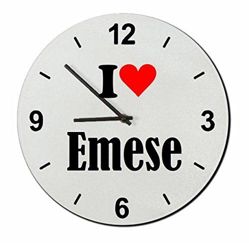 Druckerlebnis24 Glasuhr I Love Emese eine tolle Geschenkidee die von Herzen kommt  Wanduhr  Geschenktipp: Weihnachten Jahrestag Geburtstag Lieblingsmensch