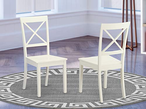 East West Furniture Boston Wood Dining Chair - Wooden Seat and Linen White Finish Solid Wood Frame Modern Dining Chair Set of 2
