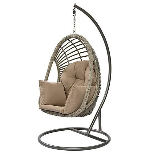 Chyuanhua Schaukelstuhl Moderne Einfache Hängende Korb Stuhl Outdoor Freizeit Rattan Stuhl Balkon Garten Schaukelstuhl Geeignet als Gartenstuhl (Farbe : Grau, Size : 103x123x188cm)