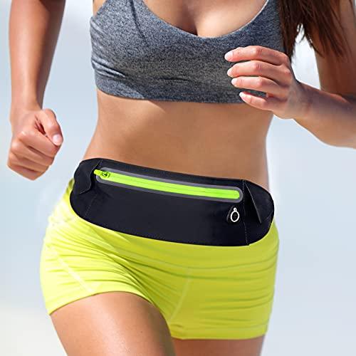 MATEPROX Riñonera de Running elástica Ajustable de Gran Capacidad con Orificio para Auriculares, riñonera Deportiva Delgada y Resistente al Sudor para Actividades al Aire Libre-Negro