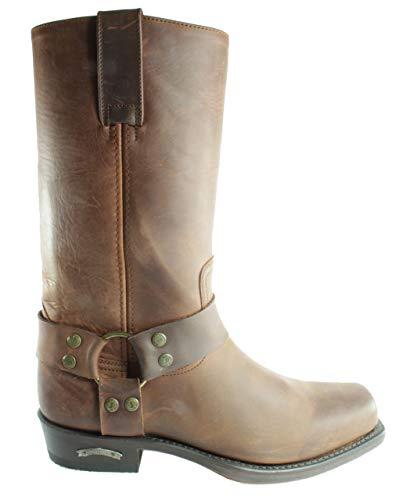 Sendra Boots 1918 Pete Braun - Botas de vaquero básicas para hombre y mujer, con puntera cuadrada, ligeras, decorativas, de piel auténtica, color Marrón, talla 46 EU