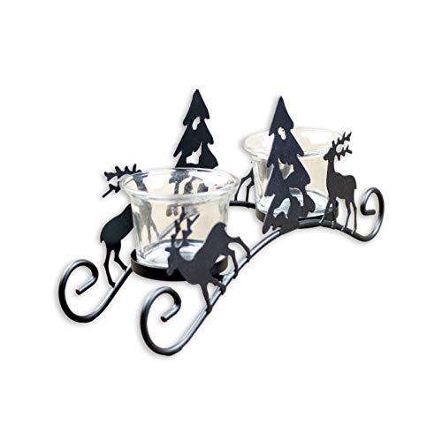 WHSPORT Kerzenhalter, Metall kerzenhalter, Schwarze Kerzenständer matt Eisenkerze, Weihnachtsbaum Kegel...
