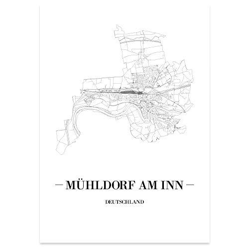 JUNIWORDS Stadtposter - Wähle Deine Stadt - Mühldorf am Inn - 30 x 40 cm Poster - Schrift A - Weiß