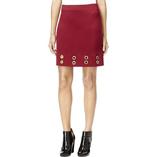 kensie Womens Grommet Twill Pencil Skirt Red M