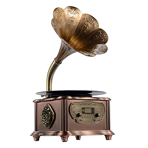 Vintage Classic Retro Phonograph Gramophone Vinyl Record Player Turntable Bluetooth 4.2, 3.5mm Aux-in/USB/FM Radio with Copper Horn Bronze