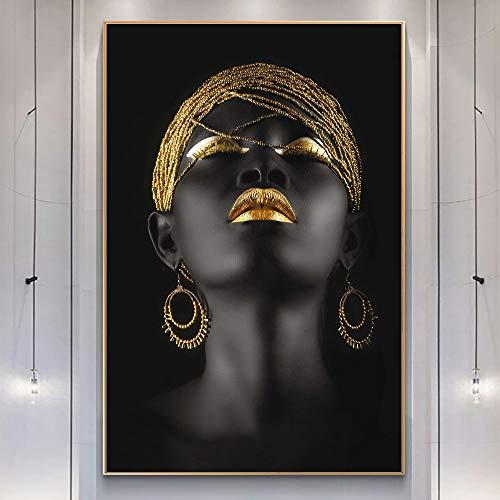 KWzEQ Quadro su Tela Donna con L'Immagine Moderna di Arte del onhomewall delle Labbra dorate60x90cmPittura Senza Cornice