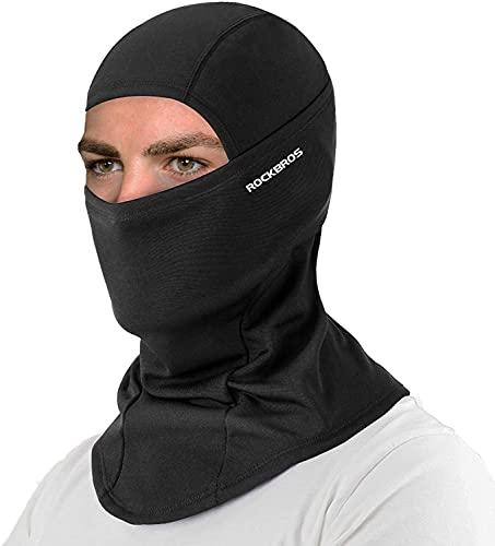 ROCKBROS(ロックブロス)冬用 ネックウォーマー バラクラバ 裏起毛 保温 息苦しくない 目出し帽 スキー サイクリング バイク メンズ(ブラック)