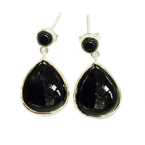 Preciosa piedra preciosa de ónix negro 925 pendientes de tuerca de plata esterlina sólida, joyería hecha a mano, para las mujeres FSJ-4945