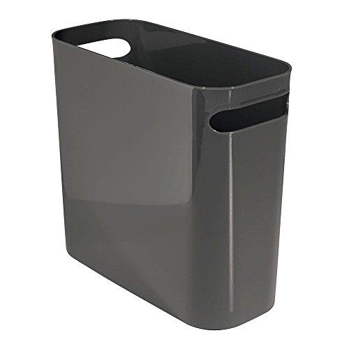 iDesign Cubo de basura con asas, papelera pequeña de plástico para residuos, moderna papelera de cocina, baño y oficina, gris