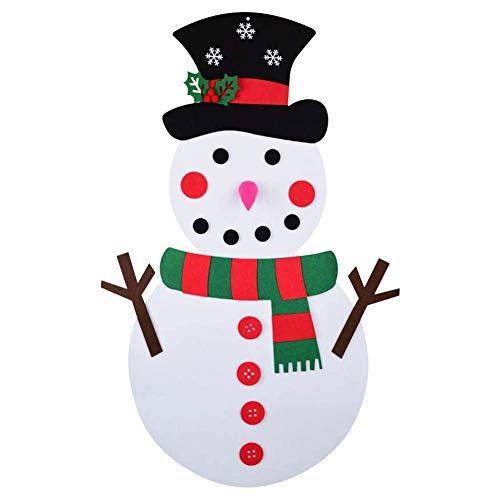GOODGDN Fieltro Muñeco de Nieve de Navidad, Adornos Navidad DIY Decoración de Colgante para Niños 21PCS Desmontable Adornos Navidad Gorro navideño para Niños