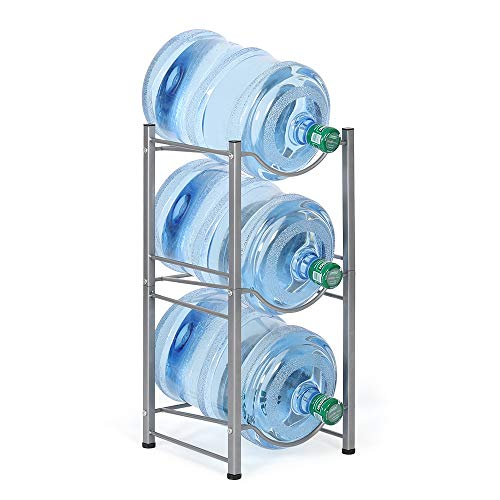 3-Tier Water Bottle Holder Cooler Jug Rack, 5 Gallon Water Bottle Storage Rack Detachable Heavy Duty Chrome Water Bottle Cabby Rack Caddy Carrier with Holder