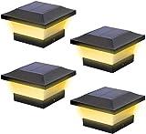 Lampes solaires à LED pour extérieur - Étanche - Pour poteaux en bois 4 x 4 - Pour terrasse, terrasse, clôture - Blanc chaud 3000 K - 4 pièces