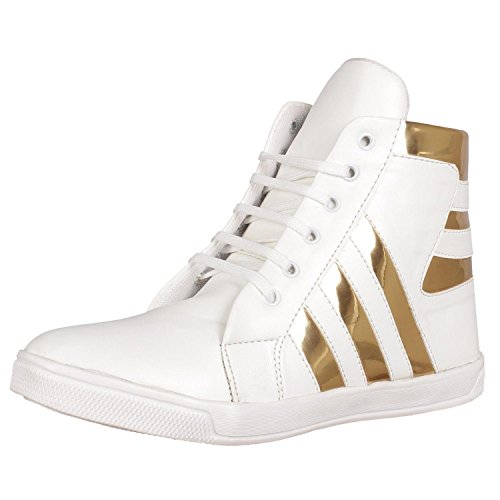 Shoe Island ® Popular Icon-X ™ Designer Leatherette High Ankle Length Velcro White Shinning Gold Casual Dance Sneakers for Men, Size 6 UK/India