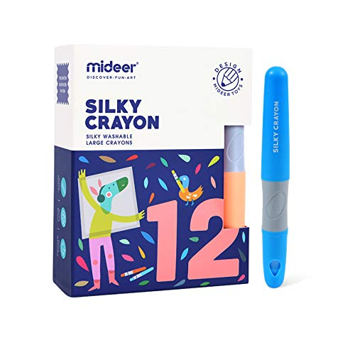 Mideer Washable Crayons For Toddler - 12 Colors,Non-Toxic Baby Crayons,Kids Art Tools,Silky Twistable Chunky Jumbo Crayons,Bath Paint Window Caryons