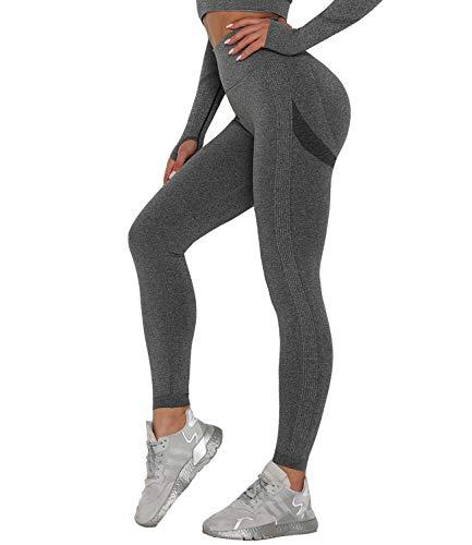 DUROFIT Anticellulite Leggings Sportivi Donna Vita Alta Pantaloni Sportivi Donna Yoga Pants Push Up per Correre Fitness Grigio L