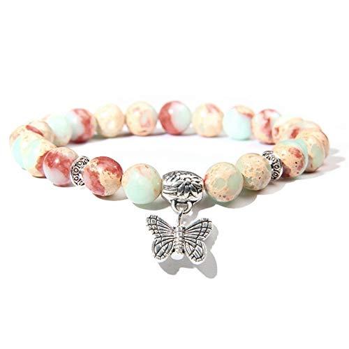 Pulsera Hecha A Mano De Piedra Natural Lotus Ohm Buddha Beads Pulsera Pink Zebra Stone Lotus Charm Pulsera para Mujeres Hombres YogaJoyas Regalos-Imperial Jasper, 21Cm